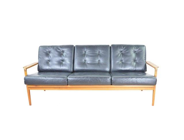 Mid-Century Black Leather Sofa