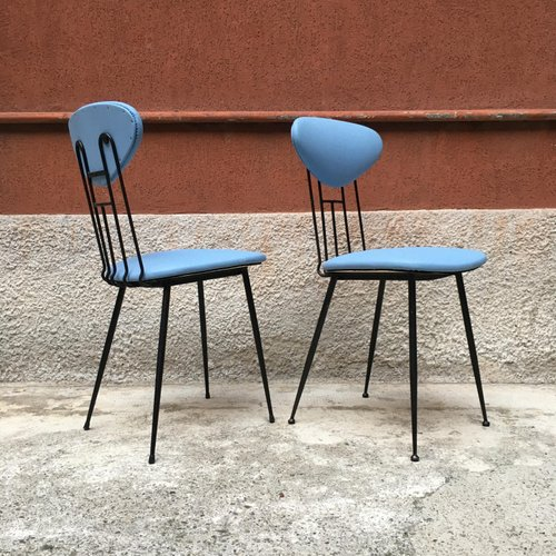Italian Light Blue Leatherette And Black Metal Dining Chairs 1980s Set Of 4 For Sale At Pamono