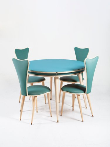 Mid Century Dining Table Chairs Set By Umberto Mascagni 1950s Set Of 5 For Sale At Pamono