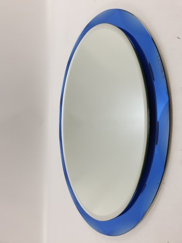 Italian Blue Glass Mirrors From Metalvetro Galvorame Siena 1970s Set Of 2 For Sale At Pamono