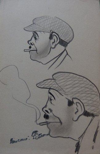 Georges Manzana Pissarro Trois Hommes De Profil Lot De 2 Dessins Originaux