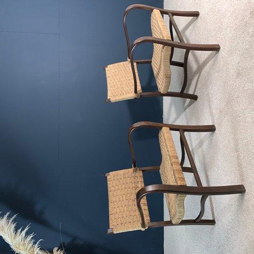 Excellent Wood And Rope Lounge Chairs 1960S Set Of 2 Inzonedesignstudio Interior Chair Design Inzonedesignstudiocom