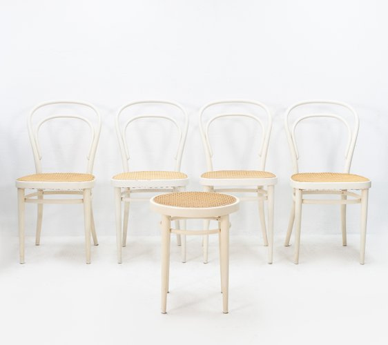 Super Model 214 Bentwood And Wicker Chairs From Thonet 1960S Set Of 5 Ncnpc Chair Design For Home Ncnpcorg