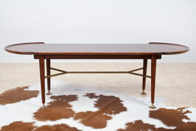 Groovy Vintage Mahogany And Brass Coffee Table By A A Patijn For Zijlstra Joure 1950S Evergreenethics Interior Chair Design Evergreenethicsorg
