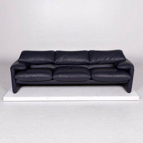 Vintage Dark Blue Leather Sofa And Armchairs Set From Cassina For