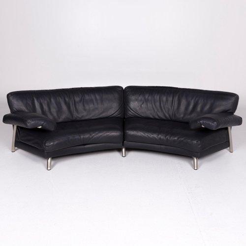 Black Gray Leather 4 Seater Sofa