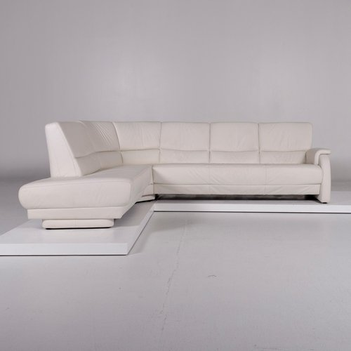 Vintage White Leather Corner Sofa from Musterring for sale at Pamono