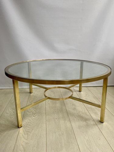 Vintage Brass Round Coffee Table 1970s For Sale At Pamono