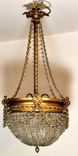 Antique Empire Style French Crystal And Brass Ceiling Lamp 1900s For Sale At Pamono