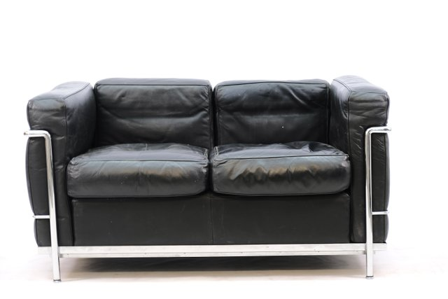 Vintage Black Model Lc 2 Seater Sofa, Le Corbusier Furniture