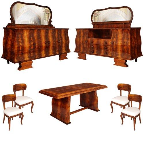 Vintage Art Deco Dining Room Set 1930s, Antique Dining Room Furniture 1930
