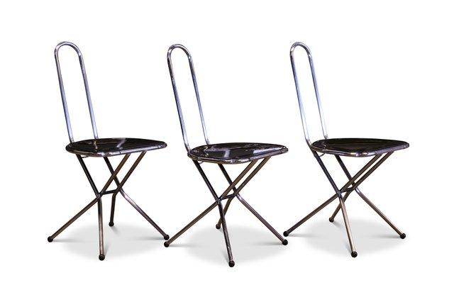Ikea Sedie Giardino Pieghevoli.Sedie Pieghevoli In Perspex Nero E Metallo Cromato Di Niels