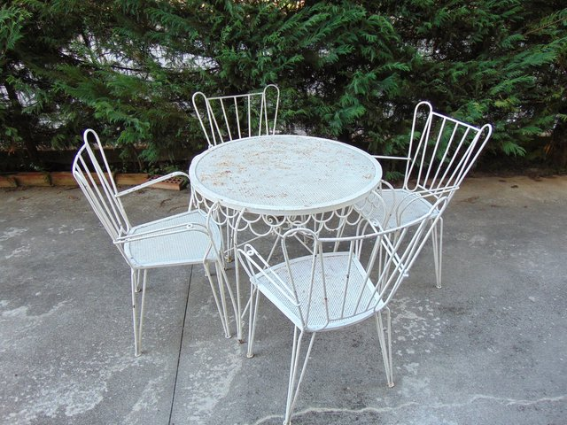 Mid Century Garden Chairs And Table Set 1950s For Sale At Pamono