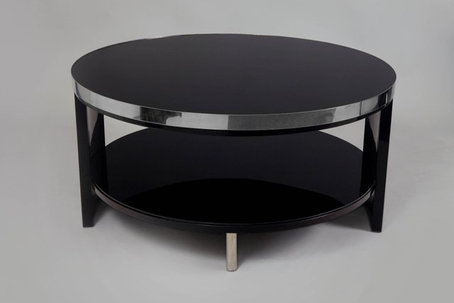 Small Art Deco Black Glass And Chrome Coffee Table 1930s For Sale At Pamono