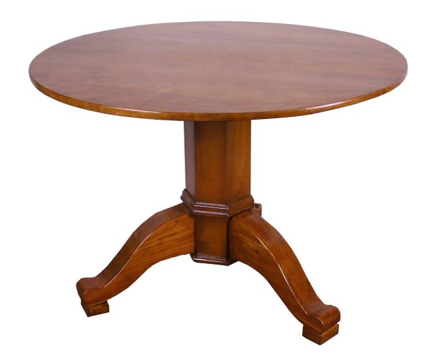 Antique Biedermeier Round Dining Table, Wood Table Round