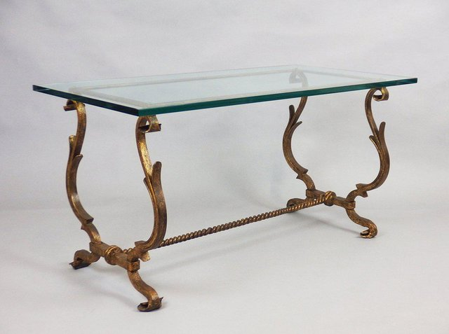 Vintage Gilt Wrought Iron Coffee Table In The Style Of Gilbert Poillerat For Sale At Pamono