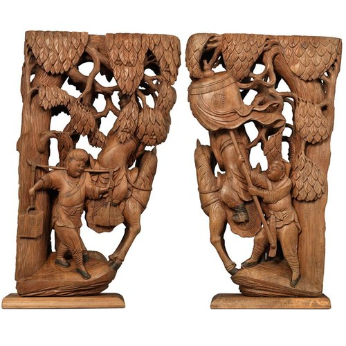 Antique Chinese Carved Architectural Corbels Set Of 2 For Sale At Pamono