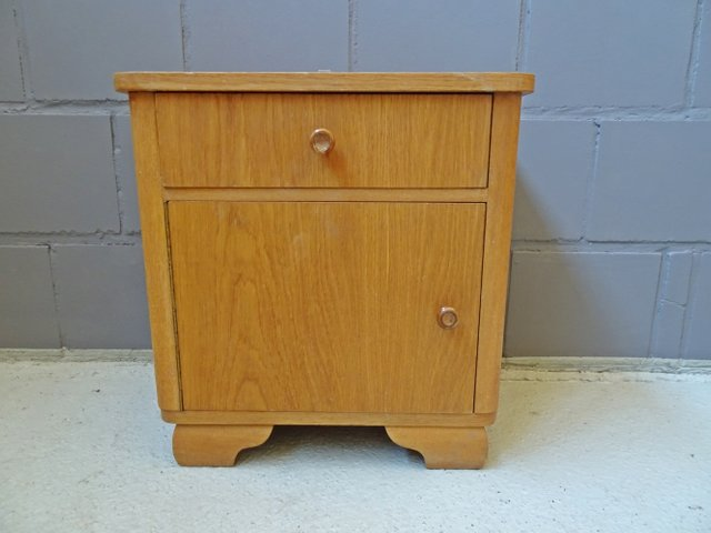 German Oak Nightstand 1940s For At Pamono - Small Oak Side Table With Drawers