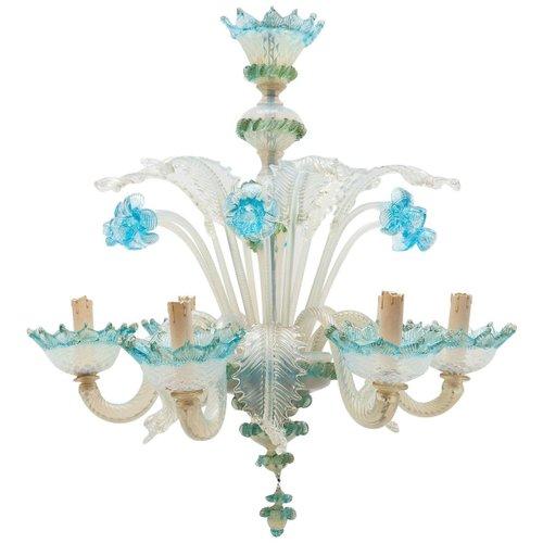 Italian Romantic Murano Blue Opal Glass Chandelier from Compagnia Di Venezia E Murano (C.V.M.), 1950s