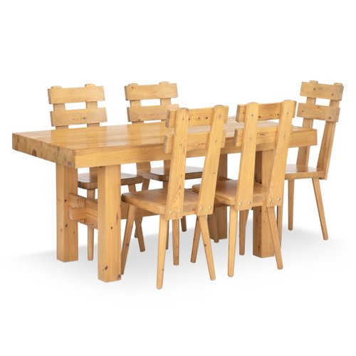 Vintage Pinewood Dining Table Chairs Set 1970s Set Of 6 For Sale At Pamono