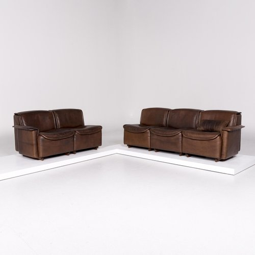 Ds 12 Brown Leather Sofa Set From De Sede Set Of 2 For Sale At Pamono