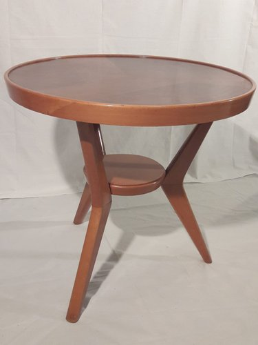 Mid Century Round Wooden Coffee Table For Sale At Pamono