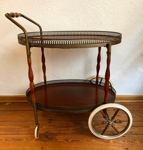 Neoclassical Style Bar Cart With 2 Wooden Trays On Rubber Ripened Wheels 1960s For Sale At Pamono