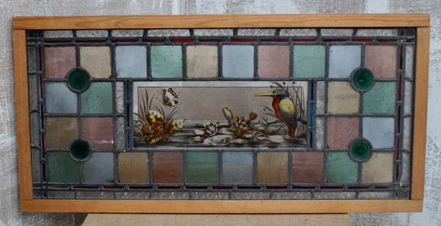 Antique Victorian Leaded Stained Glass, Victorian Stained Glass Window Panels