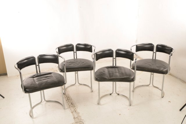 Black Leather and Chromed Steel Dining Chairs, Italy, 1970s