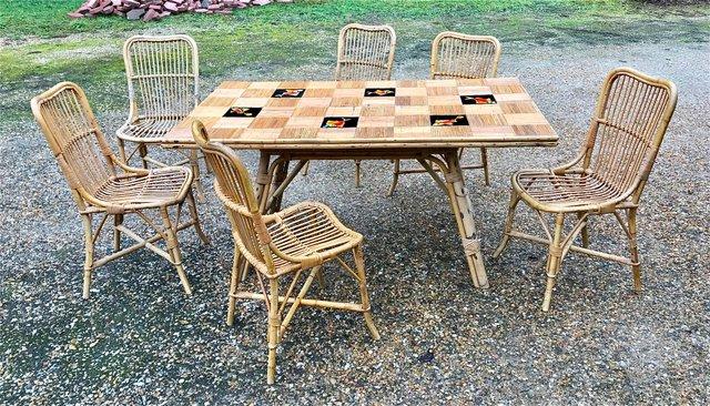 Sedie In Bambu E Tavolo In Ceramica Set Di 7 In Vendita Su Pamono