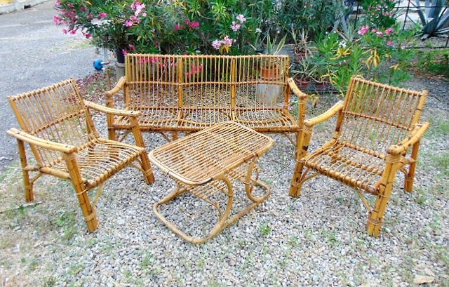 Vintage Bamboo And Rattan Terrace Set, Bamboo Outdoor Furniture Set