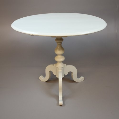Small Antique Swedish Round Dining Table In White Cream For Sale At Pamono