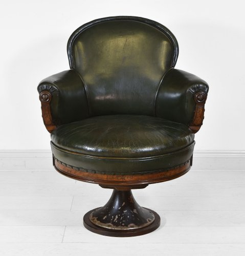 Mid 19th Century Leather & Walnut Swivel Railway Guards Chair