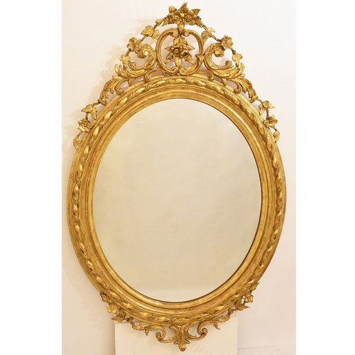 19th Century Golden Oval Wall Mirror With Gold Leaf Frame For Sale At Pamono