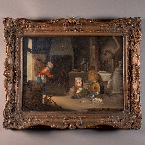 Peinture A L Huile Sur Cadre Flamand Par Cornelis Dusart En Vente Sur Pamono