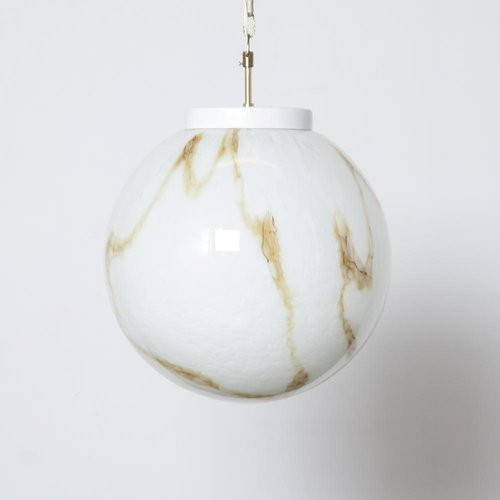 Large Marbled and Murano Glass Ball Pendant Lamp, 1960s
