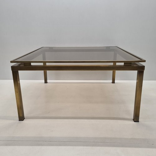 French Brass Square Coffee Table With Smoked Glass Top 1970s For Sale At Pamono