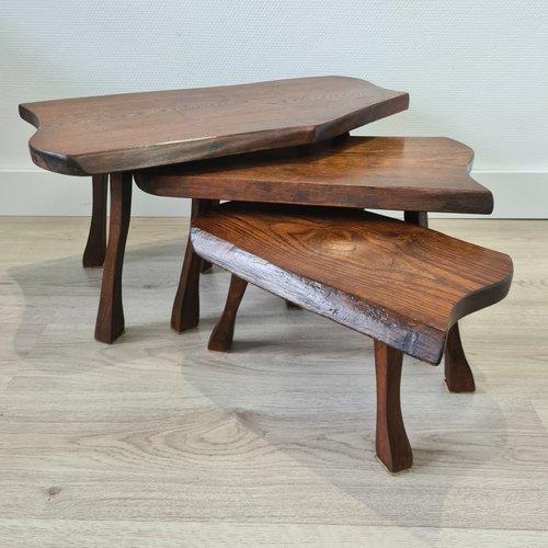 Scandinavian Oak Tree Trunk Nesting Tables 1960s For Sale At Pamono