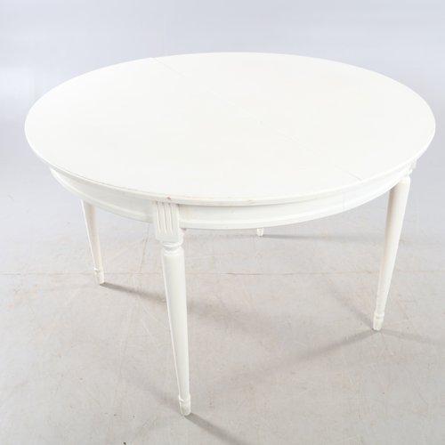 Antique Gustavian White Round Dining, White Round Table