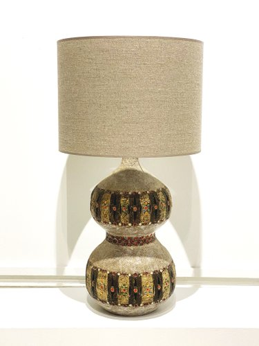 Glazed and Openwork Ceramic Table Lamp