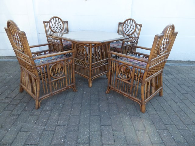 Vintage Bamboo Dining Table Chairs, Bamboo Outdoor Furniture Set