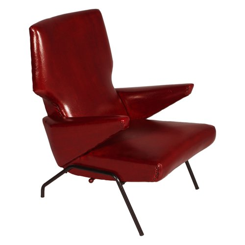 Mid Century Italian Dark Red Leather, Dark Red Color Leather Sofa