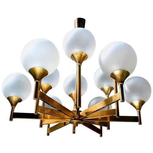 Mid Century Glass Globes And Brass, Mid Century Modern Brass Chandelier