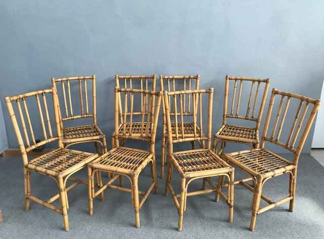 Vintage Bamboo Dining Chairs 1970s Set Of 8 For Sale At Pamono