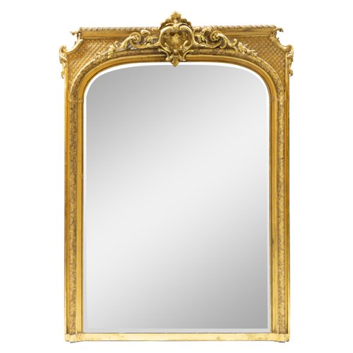 Large 19th Century Baroque Style Wall, Baroque Style Gold Mirror