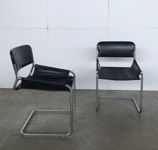 Leather And Chrome Plated Metal Dining Chairs 1970s Set Of 4 For Sale At Pamono