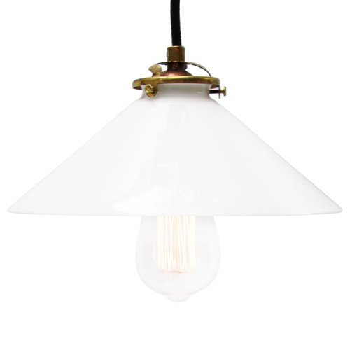Mid Century French Opaline Glass and Brass Pendant Lamp