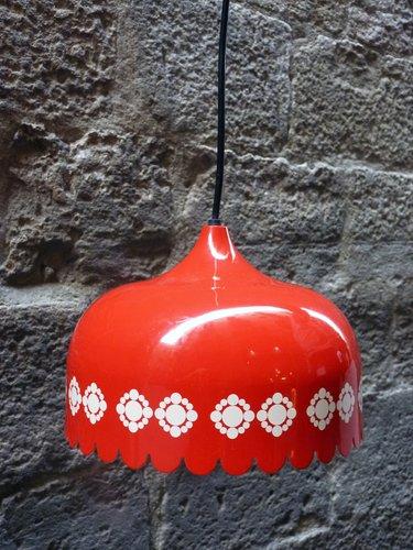 Vintage Enameled and Aluminum Pendant Lamp from Fog & Mørup, 1970