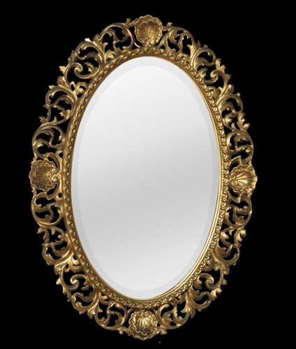 Antique Oval Gilt Wall Mirrors Set Of 2 For Sale At Pamono