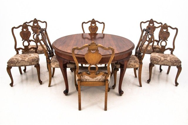 Antique Dining Table Chairs Set 1920s Set Of 9 For Sale At Pamono